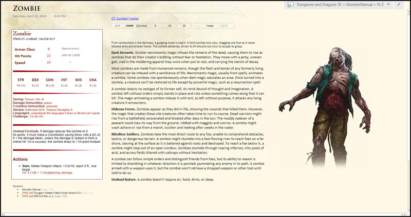 The layout of the monster pages has since been updated to keep a statblock on the left, description in the middle, and image on the left (though longer images might appear underneath instead). All monsters share this formatting.